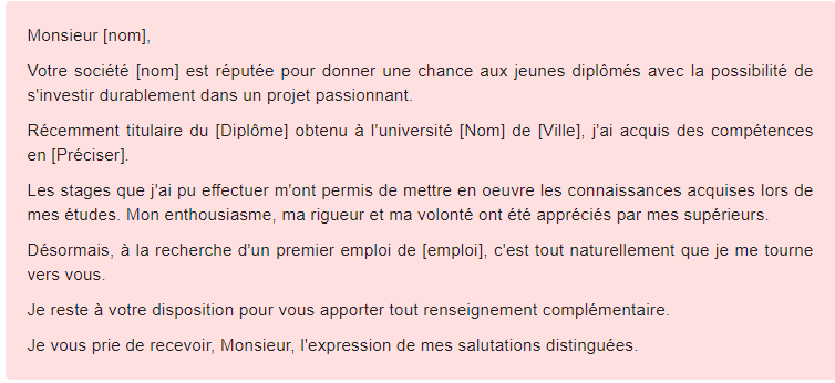 mail de motivation emploi